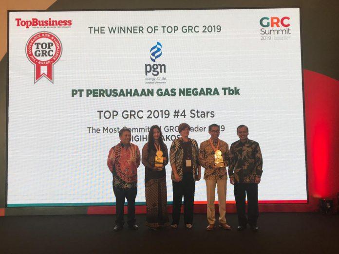 PT Perusahaan Gas Negara Tbk (PGN) berhasil meraih penghargaan sebagai TOP GRC #4 Stars, Hotel Borobudur, Jakarta, (22/8) Foto: suryakepri.com