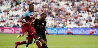 Raheem Sterling, bintang kemenangan 5-0 Manchester City atas Westham United (reuters via mirror)