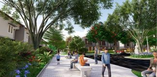 sitting area dalam area taman di Cluster Queen Selebriti, kawasan Bandara Hang Nadim, Batam.