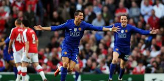 Cristiano Ronaldo saat masih membela Manchester United (goal)