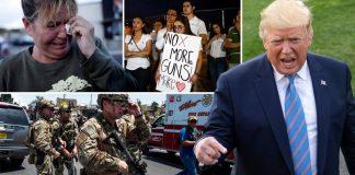 Para aktivis menggelar aksi protes di Gedung Putih mendesak pengetatan kepemilikan senjata api di AS. (Metro)