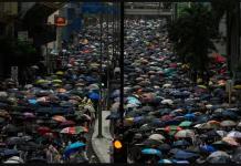 Aksi protes di Hong Kong (AFP via CNA)