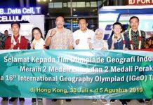 Penyambutan tim olimpiade geografi internasional di Banda Soekarno-Hatta.
