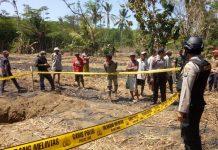 Kebun tebu tempat bom latih jatuh dipasang garis polisi, Sabtu (07/09/2019). Bom membuat lubang cukup dalam di tanah. (KOMPAS.COM/ISTIMEWA)
