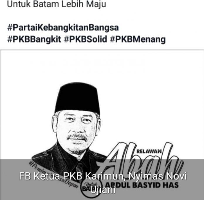 Tangkapan layar FB Nyimas Novi Ujiani mengunggah informasi bakal munculnya Ketua DPW PKB Kepri Abdul Basyid dalam kontestasi Pilwako Batam.(ist)