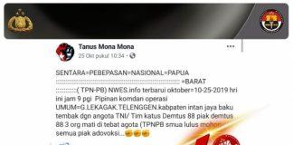 Informasi hoax mengenai tertembaknya anggota Densus 88 di Papua. (Sumber: Indonesia.go.id)