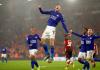 Selebrasi Jamie Vardy uai mencetak gol ke gawang Southampton. Vardy mencetak hatrik dalam kemenangan 9-0 atas tuan rumah Southampton. (AP via smh.com.au)