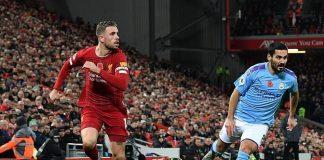Jordan Henderson saat melawan Manchester City (Sumber: DailyMail)