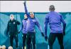 Raheem Sterling (angkat tangan) berlatih bersama rekan-rekannya dalam persiapan menantang Newcastle United di St James Park. (Sumber: Twitter Man City)