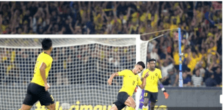 Penyerang Malaysia Muhammad Safawi Rashid merayakan pertandingan pertama pertandingan di Piala Dunia Qatar 2022 dan Piala Asia melawan Malaysia di Indonesia di Stadion Nasional Bukit Jalil di Kuala Lumpur. (Foto: Berita Harian)