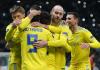 Para pemain Astana merayakan gol ke gawang Manchester United dalam laga Grup L Liga Eropa di Astana Arena, Kazakhstan. (Sumber: Telegraph)