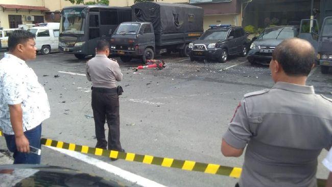 Ledakan diduga bom bunuh diri terjadi di lingkungan kantin Mapolrestabes Medan, Sumatera Utara pada Rabu pagi (13/11). (Dok. Polresta Medan)