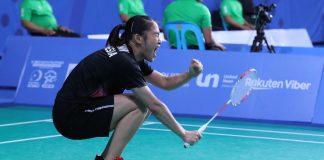 Ruselli Hartawan merayakan kemenangan di semifinal SEA Games 2019. (PBSI)