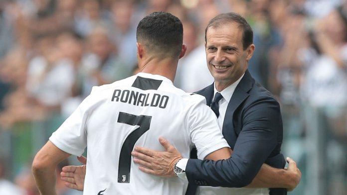 Massimiliano Allegri dan Cristiano Ronaldo.(Livescore)
