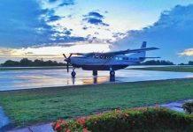 Pesawat susi air saat berada di Bandar Udara Dabo, Dabo Singkep, Lingga, Kepulauan Riau. ( Foto dari Akun Instagram susiairsumatera)