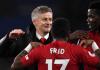 Manajer interim Manchester United Ole Gunnar Solskjaer bersama para pemain merayakan kemenangan atas Cardiff City. MU menang 5-1 pada laga pertama di bawah bimbingan Solskjaer pada 23 Desember 2018. (Foto: Premierlegue.com)