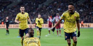 Nicolas Pepe merayakan gol ke gawang West Ham United. Pepe mencetak satu gol dan satu assist dalam laga ini. (Foto: Sportsmole)