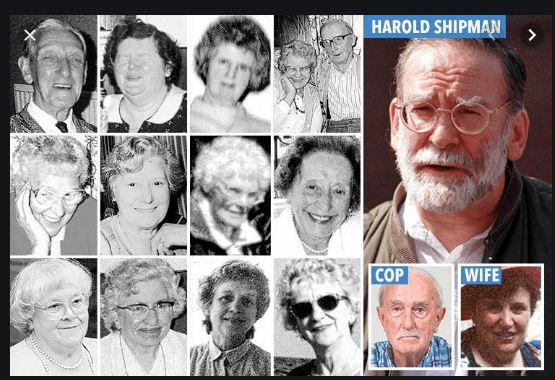Foto Dr Harold Shipman dan beberapa korbannya. (Foto: The Sun)