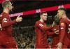 Para pemain Liverpool merayakan gol Roberto Firmino pada menit 37 ke gawang Tottenham. Satu-satunya gol di laga ini. (Foto:Liverpoolfc.com)
