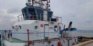 Kapal Sei Deli III Milik Pelindo Batam ditangkap tim Patroli Bea dan Cukai Karimun di perairan pulau Nipah, Senin (20/1/2020) dini hari. (ist)