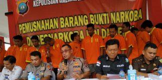 Polda Kepri Hancurkan Barang Bukti Narkotika Jenis Ganja, Sabu dan Pil Ekstasi di Mapolda Kepri, Selasa (11/2/2020). (Foto: Suryakepri.com/Aini)