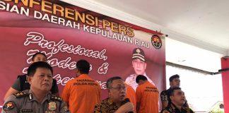 Konferensi Pers di Mapolda Kepulauan Riau (Kepri), Jumat (21/2/2020). (Foto: Suryakepri.com/Aini)