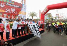 Kepri Bersepeda 2020 Resmi Dicanangkan Oleh Plt Gubernur Kepulauan Riau (Kepri) H Isdianto di Halaman Gedung Daerah, Tanjungpinang, Kamis (20/2/2020).