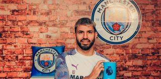 Striker Manhester City Sergio Aguero terpilih sebagai pemain terbaik bulan Januari 2020. (Sumber Foto: Twitter ManCity)