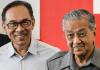 Anwar Ibrahim dan Mahathir Mohamad. Foto: AFP via scmp