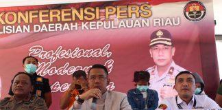 Konferensi Pers yang Digelar di Mapolda Kepulauan Riau (Kepri), Kamis (13/2/2020) siang. (Foto: Suryakepri.com/Aini)