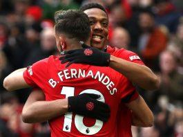 Bruno Fernandes dan Anthony Martial merayakan gol ke gawang Watford. (Foto: premierleague.com)
