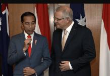 Presiden Indonesia Joko Widodo (kiri) dengan Perdana Menteri Australia Scott Morrison di Canberra. (Foto: AP via SCMP)