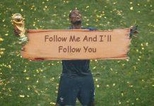 Postingan meme di twitter, mengolok-olok Paul Pogba meminta di-follow penggemar Manchester United. (Foto: Twitter)