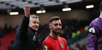 Manajer Manchester United Ole Gunnar Solskjaer bersama Bruno Fernandes usai laga 3-0 vs Watford di Old Trafford. (Sumber Foto: Twitter manutd)