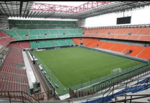 Giuzeppe Meazza, kandang AC Milan dan Inter Milan. Kemungkinan laga leg II Liga Eropa antara Inter vs Ludogorets akan digelar tanpa penonton di stadion ini. Demikian pula sejumlah laga sepak bola Italia dalam berbagai level, akan digelar tertutup sebagai dampak dari meningkatkan kasus virus Corona di Italia. (Foto: Forza Italian)