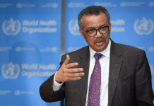 Direktur Jenderal Organisasi Kesehatan Dunia Tedros Adhanom Ghebreyesus pada konferensi pers hari Jumat. Badan kesehatan PBB telah meningkatkan risiko global dari coronavirus ke tingkat tertinggi. Foto: AFP via scmp
