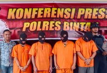 Para pelaku tindak pidana narkotika yang ditangkap Satres Narkoba Polres Bintan (Suryakepri.com/ Muhammad Bunga Ashab)