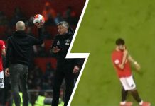 Bruno Fernandes (kanan) meletakkan telunjuk ke mulutnya, menyuruh Pep Guardiola diam, saat laga derby Manchester di Old Trafford, 8 Maret 2020. (Foto: tribuna)