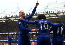 Willian dan Ross Brakley merayakan gol Chelsea. (Foto: twitter Chelsea FC)