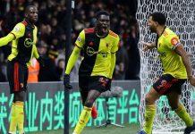 Reaksi Ismaila Sarr usai membobol gawang Liverpool yang dikawal Alisson pada pekan ke-28 Liga Inggris di Vicarage Road, Minggu (1/3/2020) dinihari WIB. (Foto: premierleague.com)