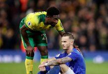 James Maddison terduduk di lapangan menyesali kekalahan Leicester City dari tuan rumah Norwich. (Foto: pemierleague).