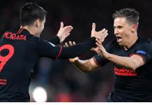 Marcos Llorente dan Alvaro Morata merayakan gol ke gawang Liverpool. (Foto: UEFA.com)