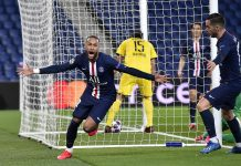 Selebrasi Neymar usai membobol gawang Dortmund pada Leg II 16 Besar Liga Champions di Parc Des Princes, Kamis (12/3/2020) dinihari waktu Indonesia. (Foto: Eurosport)