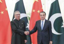 Perdana Menteri China Li Keqiang bertemu dengan Presiden Pakistan Arif Alvi di Aula Besar Rakyat di Beijing, ibukota China, 17 Maret 2020. (Xinhua / Ding Haitao)