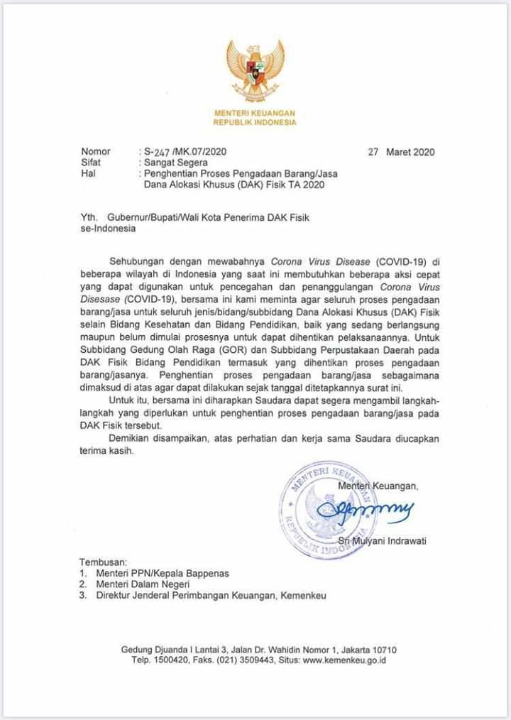Surat Menteri Keuangan Sri Mulyani Indrawati kepada para kepala daerah seluruh Indonesia