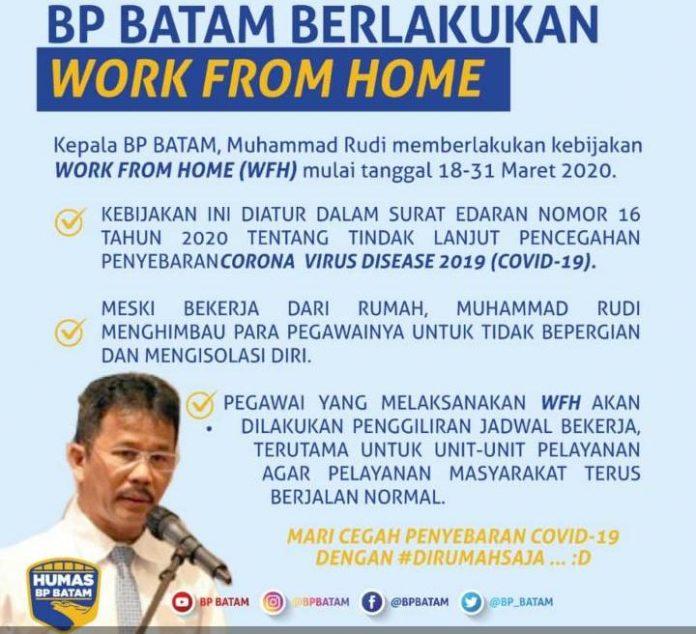 Penerapan work from home di BP Batam.