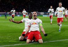 Kapten RB Leipzig Marcel Sabitzer merayakan gol ke gawang Spurs. Foto: Twitter Leipzig.