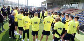 Semua kegiatan latihan tim utama Barcelona ditunda hingga waktu yang belum ditentukan. (Foto: Twitter Barcelona)