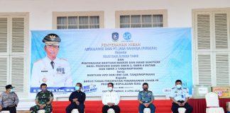 Plt Gubernur Kepulauan Riau (Kepri) H Isdianto saat Menerima Bantuan dari PT Jasa Raharja, Siswa-siswi SMKN se-Provinsi Kepri dan BNI Tanjungpinang di Gedung Daerah, Tanjungpinang, Rabu (8/4/2020).