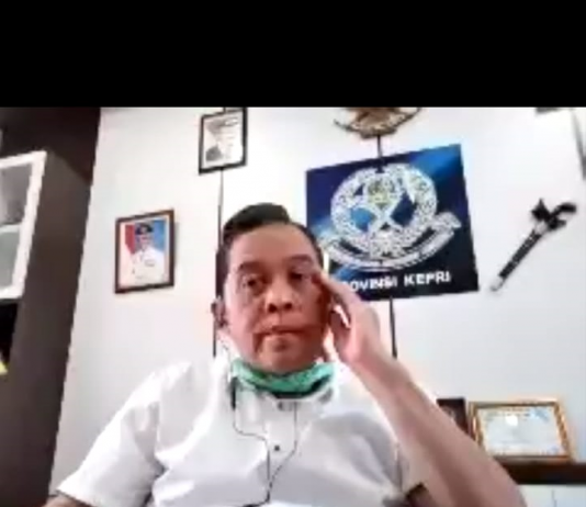 Kadinkes Batam, Didi Kusmarjadi saat video confrence yang dilaksanakan, Rabu (15/4/2020).